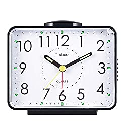 4 Silent Analog Alarm Clock Non Ticking, Gentle Wake, Beep Sounds, Increasing Volume, Battery Operated Snooze and Light Functions, Easy Set (Black)