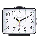 4' Silent Analog Alarm Clock Non Ticking, Gentle Wake, Beep Sounds, Increasing Volume, Battery Operated Snooze and Light Functions, Easy Set (Black)