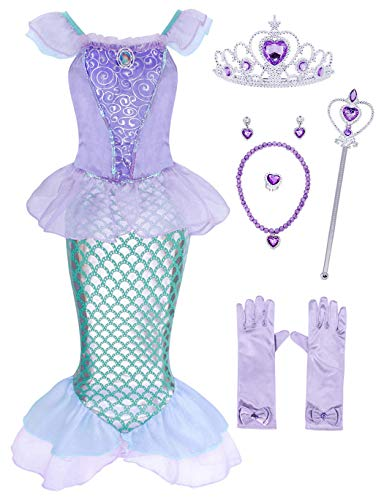 AmzBarley Little Mermaid Dress for Girls Ariel Costume Outfit Toddler Birthday Fancy Party Cosplay Princess Sequins Tails Halloween Preschool Role Play Clothes with Accessories Size 3T (2-3Years)