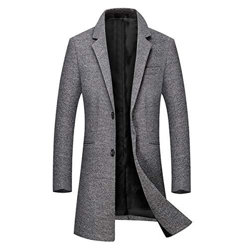 Mode Laine La xl Manteau Unie Chaud Outerwear Trench Manches Couleur Homme Epais Simple Slim Boutonnage Sliktaa Affaires Casual A Gris Long Xxs Hivers Longues Coat w4Cqq5Z