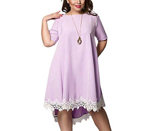 GUNCOI Women Large Size Patchwork Tassel Dress New Casual Loose Plus Size Female Clothing L-6XL Blue Red Chiffon QZ XXL