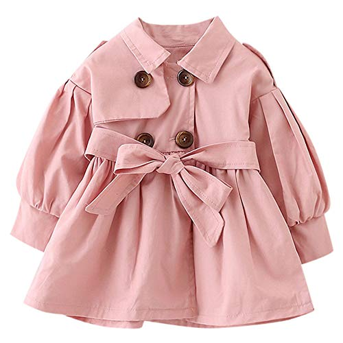 (1-5T Toddler Infant Baby Boys Girls Double Breasted Trench Coat,Casual Button-up Jacket Outerwear Dress Belt Outfits (18-24 Months, Pink))