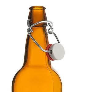 Chef's Star CASE OF 12 - 16 oz. EASY CAP Beer Bottles - AMBER