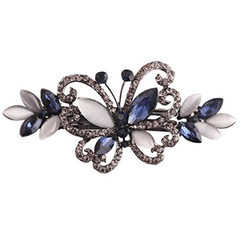 Womens Gemstone Accent - Hair Pins Baomabao Classic Gemstone Hairpin Side Clip Hair Accessories Hairpin For Women Jewelry Beauty Tool (Blue)
