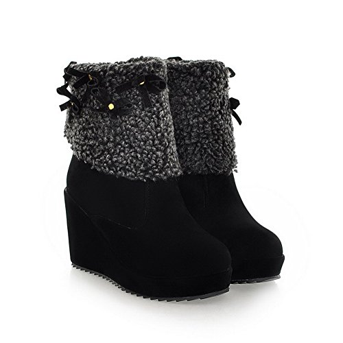On Boots Black Heels Pull Solid Allhqfashion Women's High Round Closed Low Top Toe 6xqWpFw74X