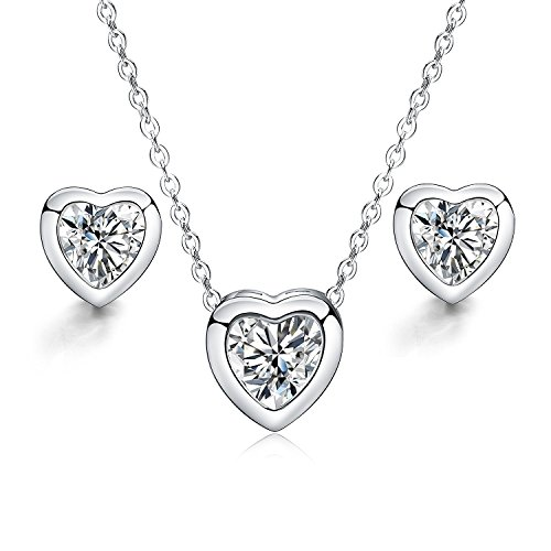 925 Sterling Silver Necklace, Stud Earrings, Heart Crystal Pendant Set for women teen girls Prime Gift 925 Silver Studs Pendant