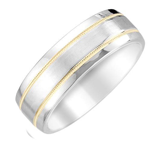 Brilliant Expressions White Cobalt Wedding Band with Double 14K Yellow Gold Stripes and Satin Finish Center, 7mm, Size 11
