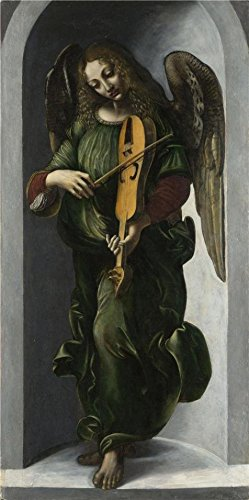 Oil Painting 'Associate Of Leonardo Da Vinci (Francesco Napoletano)-An Angel In Green With A Vielle,about 1490-9' Printing On High Quality Polyster Canvas , 16x32 Inch / 41x82 Cm ,the Best Bar Decoration And Home Decor And Gifts Is This Reproductions Art Decorative Canvas Prints