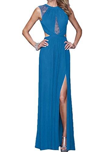 Promkleid Festkleid Rueckenfrei Abendkleid Damen Blau Rundkragen Partykleid Chiffon Schlitz Ivydressing Hochwertig amp;Spitze SzqtwAt8x