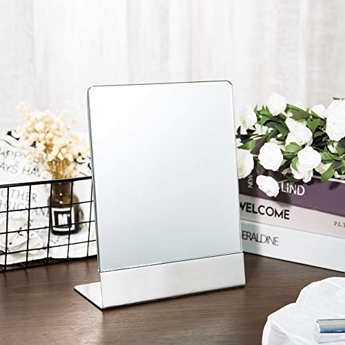 HD Rectangle Desktop Tabletop Cosmetic Mirror Vanity Mirror with EVA Base, 304 Stainless Steel Large Non-Magnifying Single-Sided Speech Mirror Standing Self-Portrait Mirror