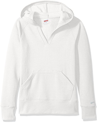 Soffe Big Girls' Rugby Deep V Hood Cp, White, Large -