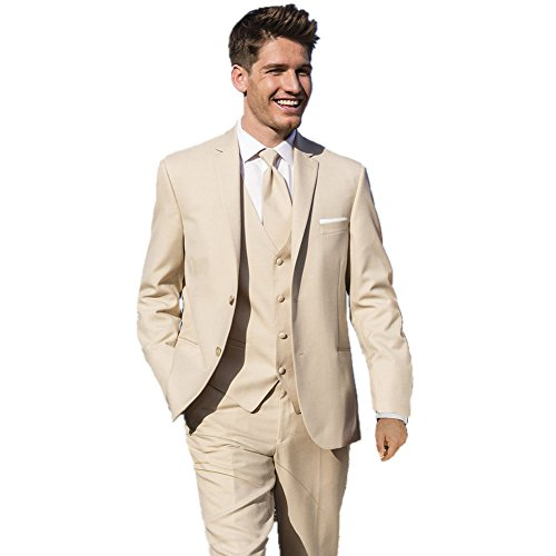 MYS Men's Custom Made Bridegroom Wedding Tuxedo Suit Pants Vest Tie Set Light Beige Size 38R by MY'S