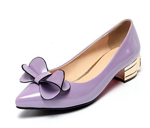 AgooLar Damen Ziehen auf PU Quadratisch Zehe Niedriger Absatz Rein Pumps Schuhe, Grau, 44