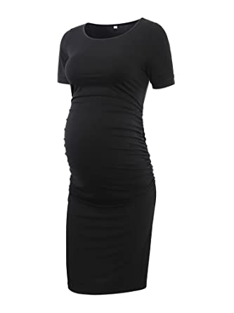 Liu & Qu Women's Ruched Maternity Bodycon Dress Mama Causual Short Sleeve Wrap Dresses
