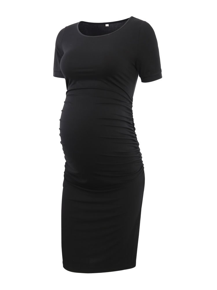 Women's Ruched Maternity Bodycon Dress Mama Causual Short Sleeve Wrap Dresses Black M