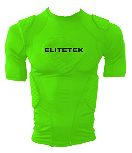 Chest Padded Baseball Shirt (EliteTek Padded Compression Shirt - CPS14 - Youth and Adult Sizes (Neon Green, Adult M))