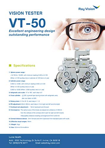 Ophthalmic View Vision Tester Aluminum White Optical Manual Refractor Optometry VT-50