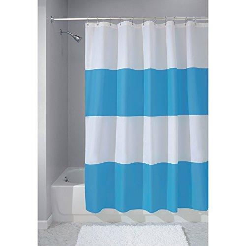 InterDesign Mildew-Free Water-Repellent Zeno Fabric Shower Curtain, 72-Inch by 72-Inch, Azure/White ()