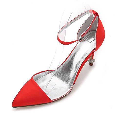 Primavera Verano Bomba Zapatos L De Satén Noche Plata Púrpura Y F17767 Red Boda 20 yc Fiesta Mujer qxSYw50pXw
