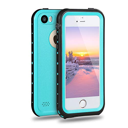 iPhone 5S Waterproof Case, Meritcase IP68 iPhone SE/5S/5 Waterproof Shockproof Dirtproof Snowproof Screen Protector Cover for Snow Skiing Swimming (Blue)