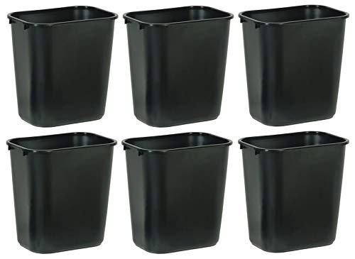 Rubbermaid Commercial Products SLTYGJHJ FG295600BLA Plastic Deskside Wastebasket, 28-1/8-quart, Black, 6 Pack by Rubbermaid Commercial Products