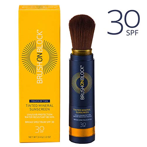 Brush on Block - Mineral Face Sunscreen Powder, Natural Broad Spectrum SPF 30 UVA and UVB Protection, Reef Friendly, No Parabens, No PABA, No Phthalates, Touch of Tan