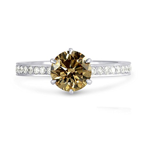 1.4Cts Champagne Diamond Engagement Side Stone Ring Set in 18K White Gold GIA Size 5