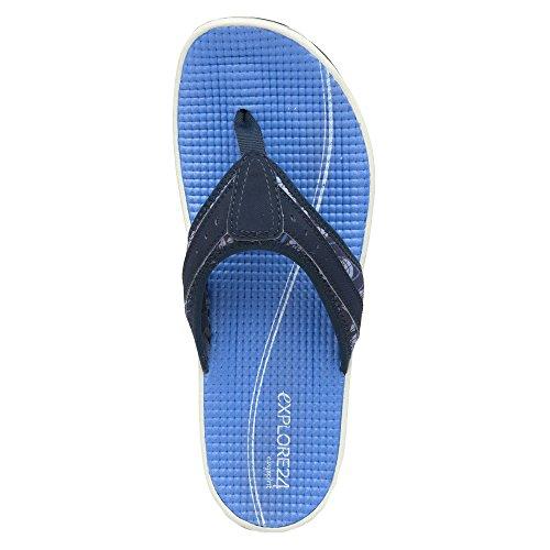 Easy Spirit Womens Yindaloo Flip Flop Blu Tessuto Multi / Blu Scuro