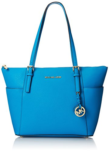 Michael Kors Jet Set Summer Blue Tote (Michael Kors Jet Set Monogram Signature Tote)