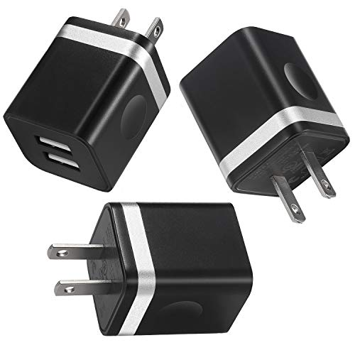 LEEKOTECH USB Wall Charger, 3-Pack 2.1A Dual Port USB Cube Wall Charger Plug Charging Block Power Adapter Compatible with iPhone XR Xs Max X 8 7 6 Plus 5 4, Samsung, LG, ZTE, Moto, Android Phone More