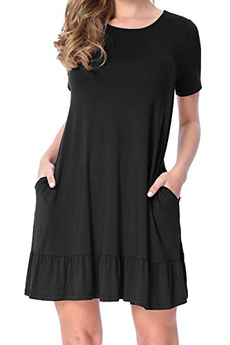 Beautife Womens Casual Tunic Dresses Summer Round Neck Short Mini Dress with Pockets