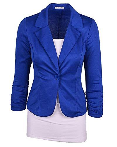 D'affaires Femmes À Blazer coloré Xl Manches Pour De Base Oudan Longues Bleu Taille 4aqwTf