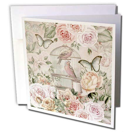 3dRose Andrea Haase Art Illustration - Vintage Birdcage and Roses in Soft Pastel Colors - 1 Greeting Card with Envelope (gc_289014_5) (Pastel Soft 1)