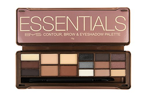 BYS Essentials Contour, Brow & Eyeshadow Palette Tin Collection with Mirror and Dual End - Essential Collection Eye