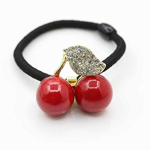 Women Girl Hair Bands Hair Accessories Pearl Girls Sweet Rubber Band Cherry (Color - ()
