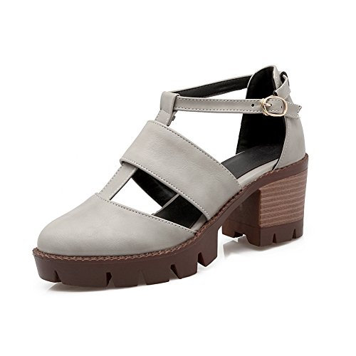 BalaMasa Womens Sandals Closed-Toe No-Closure No-Closure High-Heel Cold Lining Fabric Closed-Toe Cold-Weather Urethane Sandals ASL04362 Gray