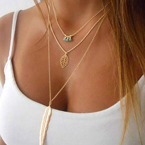 Fstrend Bohemian Feather Layered Necklace Dainty Leaf Pendant Turquoise Choker Necklace Jewelry for Women and Gilrs (Gold)