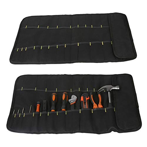 Tool Roll Up Bag by Extra-Perseverance - 22 Pockets Pouch Kit for for electricians, mechanics, handyman or any other professional (Black) by Extra-Perseverance (Image #4)