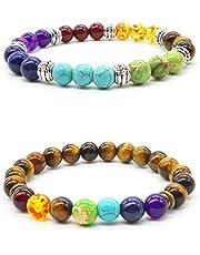 Mayting 2 pcs Natural Tiger Eye Stone Reiki Healing Yoga Bracelet 7 Reiki Chakra Stretch Bracelet