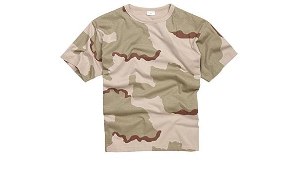 100% Algodón Estilo Militar Camiseta - Tri - Camuflaje Desierto