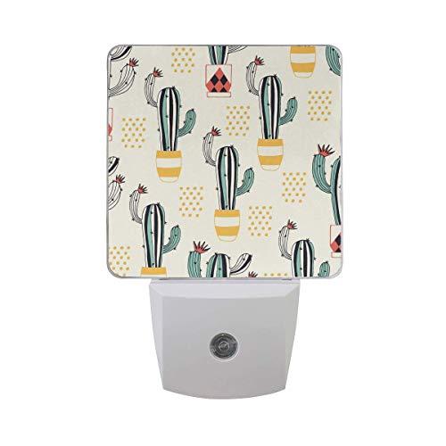 2 Pack 0.5W Plug-in LED Night Light Lamp with Dusk to Dawn Sensor,Kids, Adult, Bedroom, Hallway, Bathroom, Kitchen, Stairways, Corridor, or Any Dark Room - Cacti Flower Pot