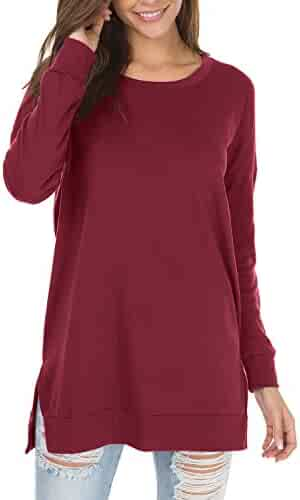 a8f72116d73 levaca Women's Fall Long Sleeve Side Split Loose Casual Pullover Tunic Tops