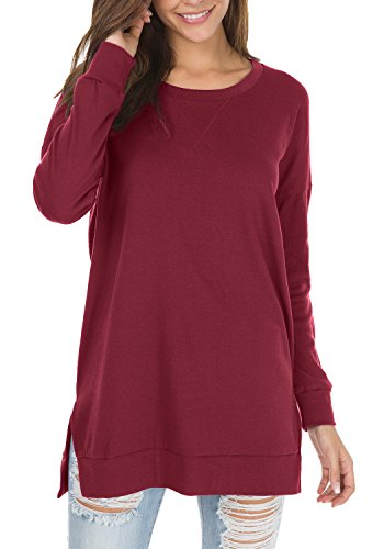- levaca Womens Round Neck Solid Side Split Loose Casual Plus Sweatshirt Wine L