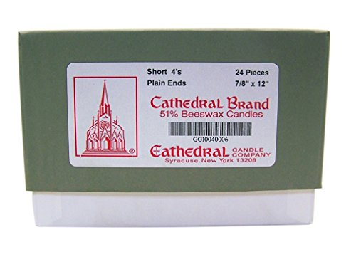 - Cathedral Candle Company 51% Beeswax Plain End Short 4's Cathedral Church Candles, 7/8 Inch x 12 Inch, Box of 24