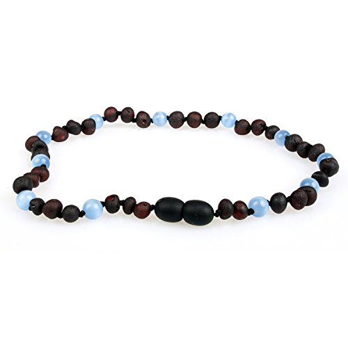 Baltic Amber Teething Necklace (Unisex, 12.5 Inches) with Semi-Precious Gemstones - Unpolished Raw Cherry Amber & Cat's Eye (Chrysoberyl). Lab-Tested, 100% Certified - Natural Teething Pain Relief