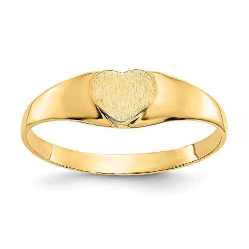 (Mia Diamonds 14k Solid Yellow Gold Baby Heart Signet Ring)