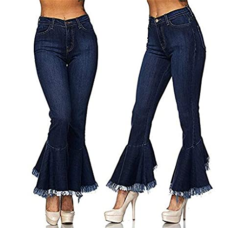 Amazon.com: DHmart Fashion Short Jeans Woman Casual Hight Waisted Skinny Hole Denim Jeans Stretch Slim Pants Bell-Bottoms Jeans: Kitchen & Dining