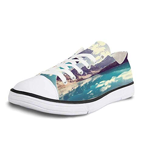 Canvas Sneaker Low Top Shoes,Landscape Moraine Lake in Banff National Park in Canada High Peaks and Trees Image Man 11