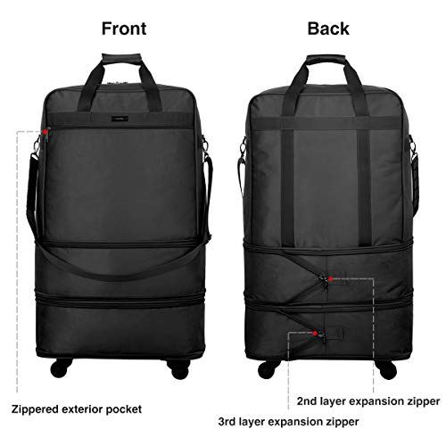 Hanke Expandable Foldable Suitcase Luggage Rolling Travel Bag Duffel Tote Bag for Men Women Lightweight Suitcase Large Capacity Luggage with Universal Wheels(Black)