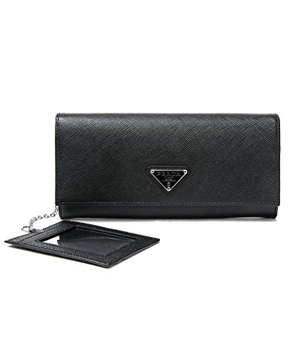 Wiberlux Prada Women's Silver Triangle Logo Detail Flap Real Leather Long Wallet
